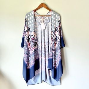 NWT Umgee Blue/White/Pink Floral Long Kimono S/M